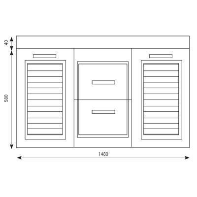 FRESH סרטוט 2 מגירות + 2 דלתות